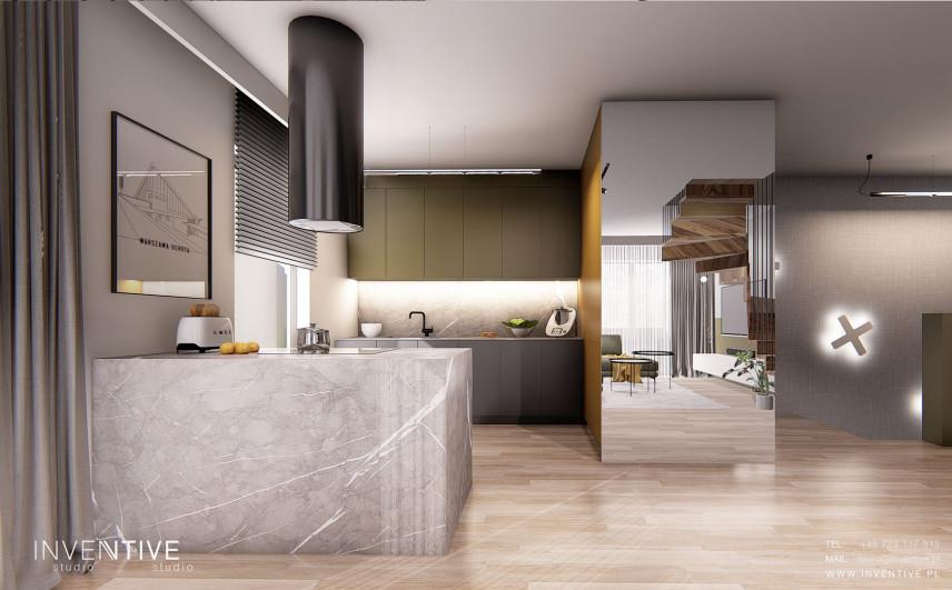 Projekt nowoczesnej kuchni z kamiennym barem