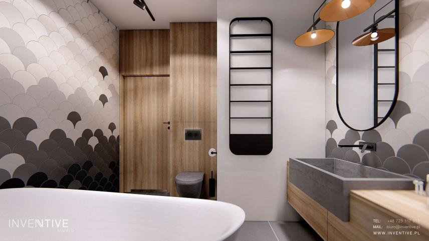 Projekt nowoczesnej łazienki z wanna owalną