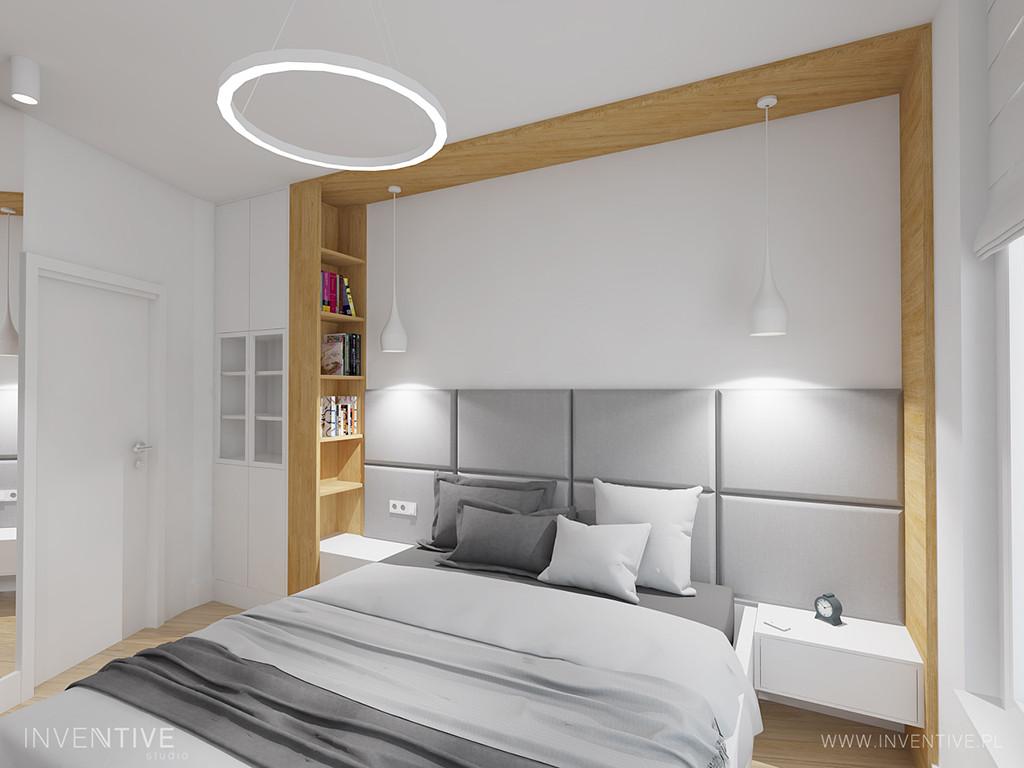Minimalizm w sypialni z łóżkiem kontynentalnym