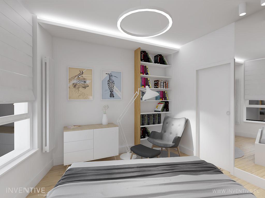 Mała sypialnia z biblioteczką