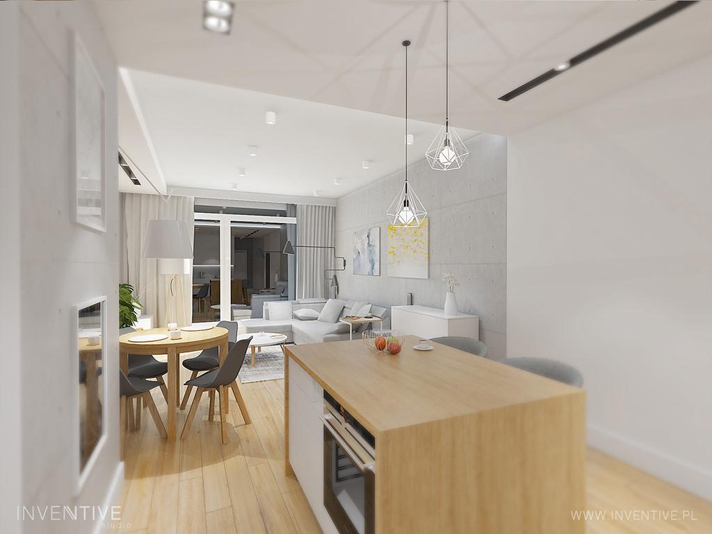 Kuchnia otwarta na salon w białych kolorach