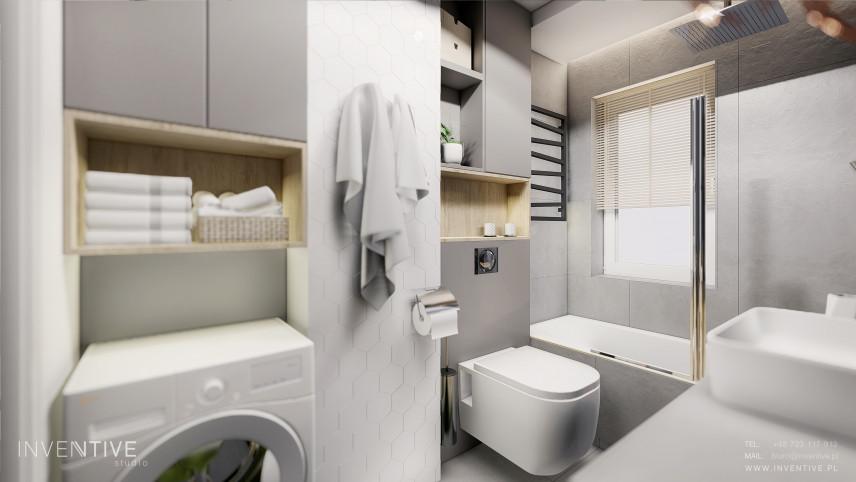 Łazienka z szafką nad pralką