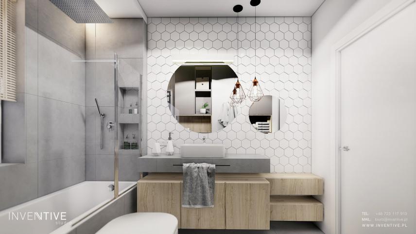 Projekt łazienki z wanną z funkcją prysznica