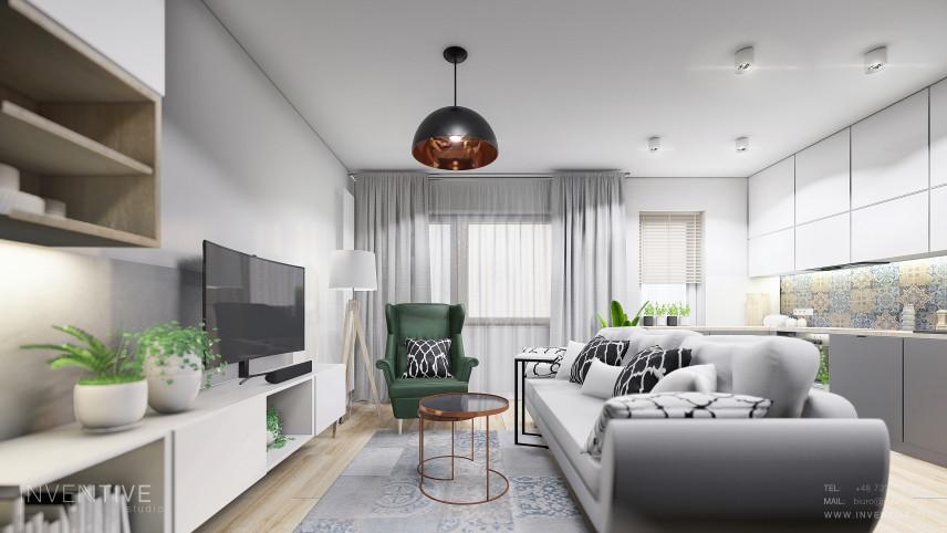 Projekt salonu z szarą kanapa i zielonym fotelem