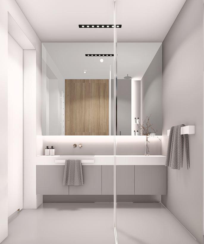 Projekt łazienki z szarą szafką wiszącą