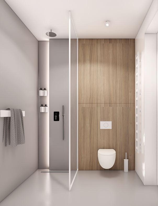 Projekt łazienki z szaro-drewnianymi ścianami