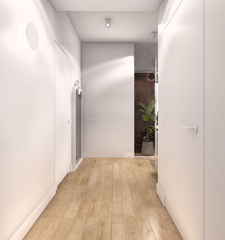 Projekt korytarza w kolorze białym
