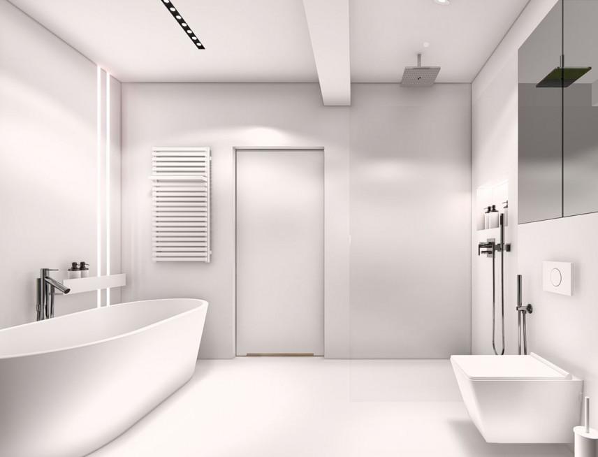 Projekt łazienki w białym kolorze
