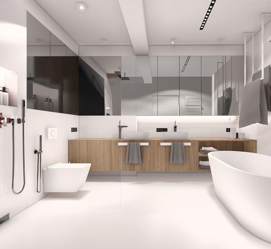 Duża łazienka z prysznicem i z wanną