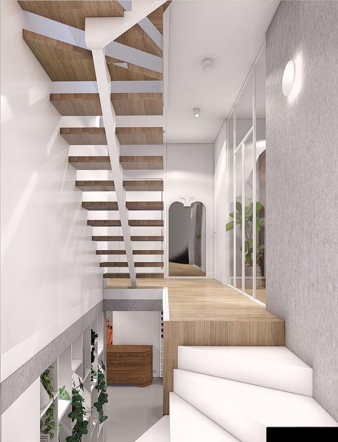 Projekt mieszkania z nowoczesnymi schodami