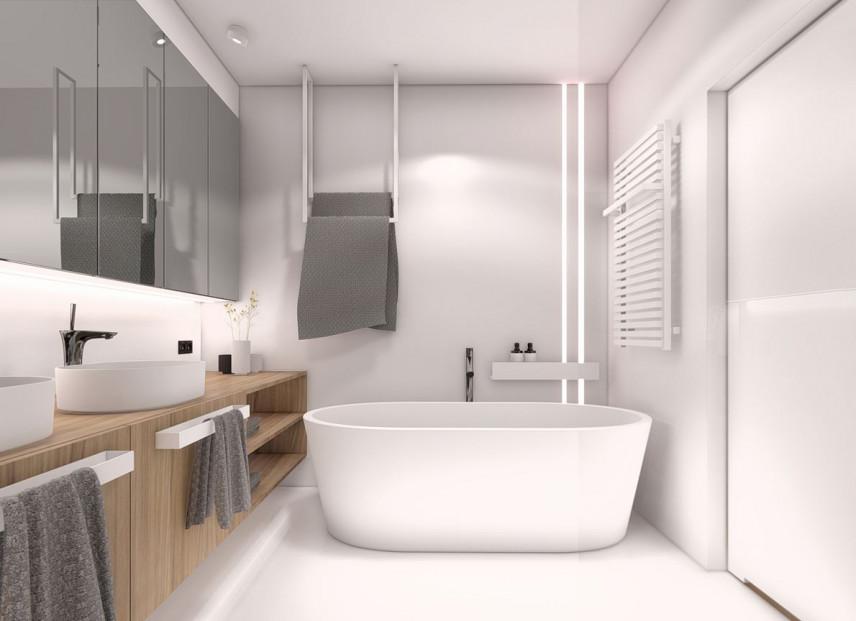 Projekt łazienki z drewnianą szafką i dwoma zlewami nablatowymi