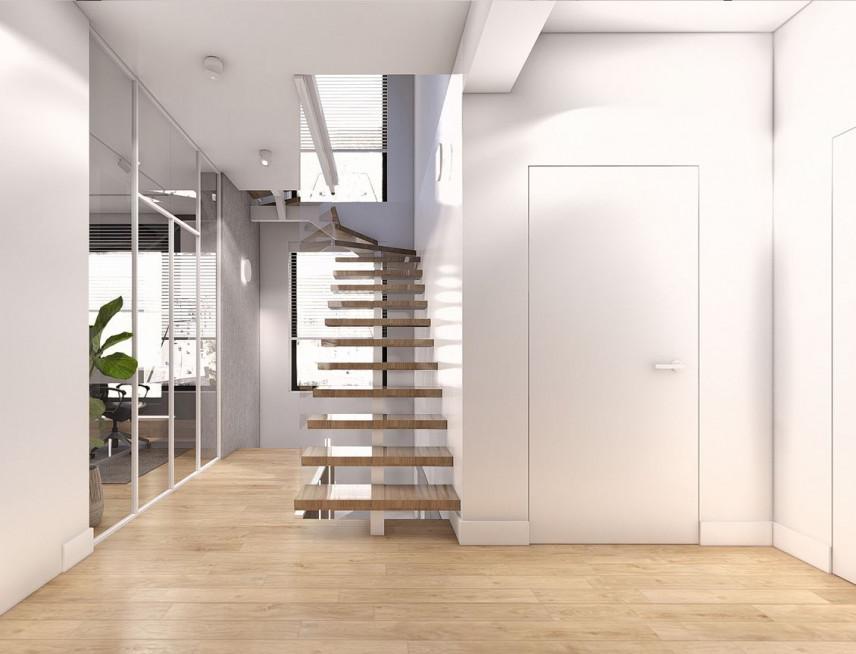 Projekt przedpokoju z drewnianymi schodami