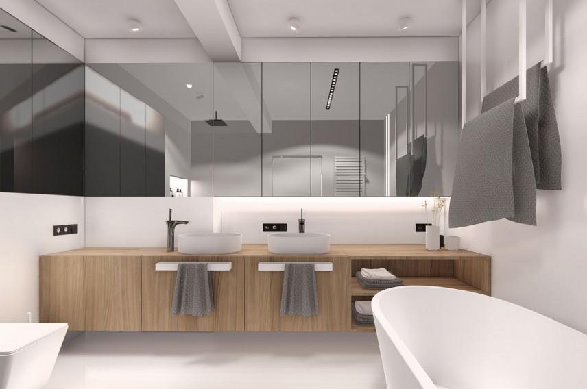 Projekt łazienki z szafka wiszącą z lustrzanymi frontami