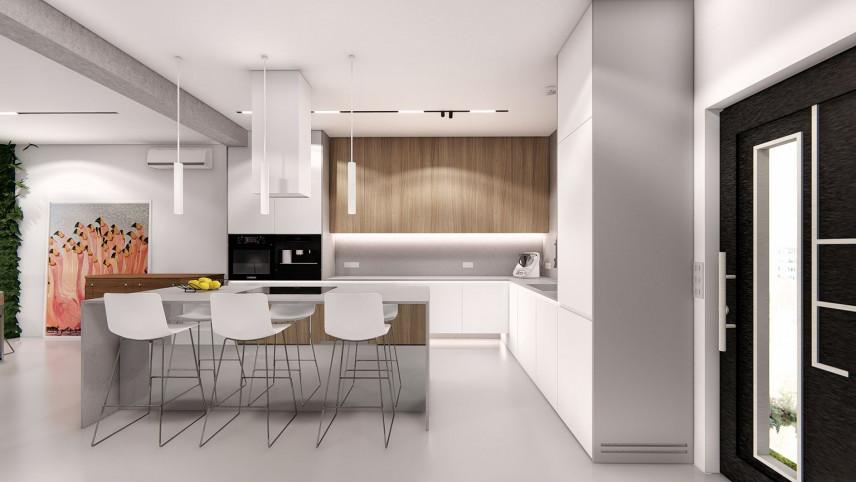 Projekt kuchni otwartej z wyspą i białymi lampami wiszącymi