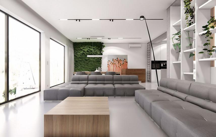 Projekt salonu z szarą sofą i narożnikiem