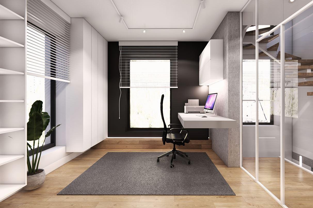Projekt biura w domu z białym blatem zamontowanym do ściany