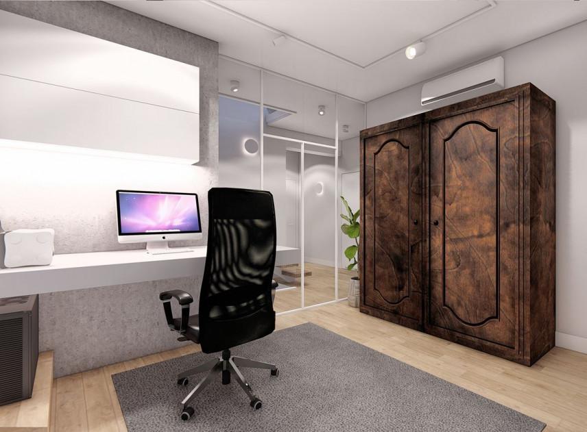 Projekt biura w domu z antyczną szafą
