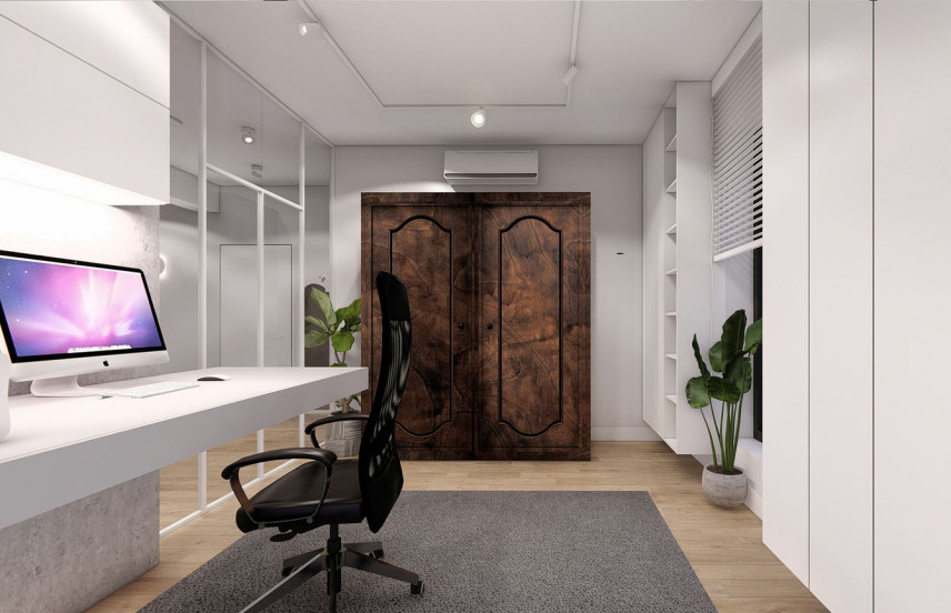 Projekt biura w domu z biurkiem i meblami