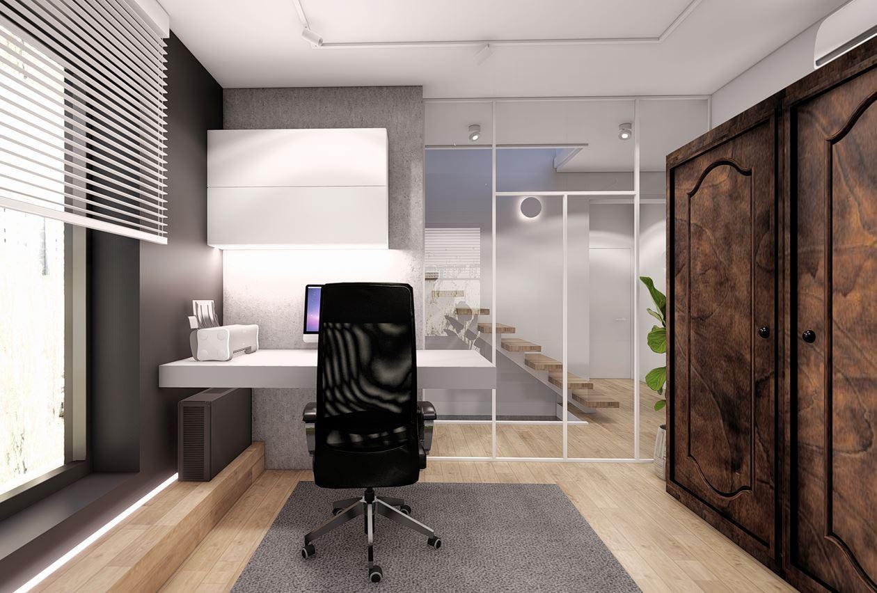 Projekt biura w domu z białymi żaluzjami na oknie