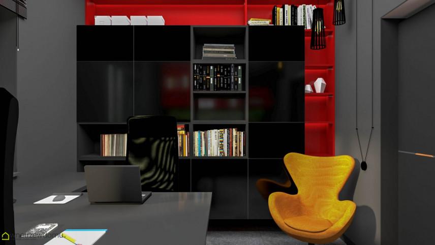Nowoczesne biuro z meblami w ciemnym kolorze