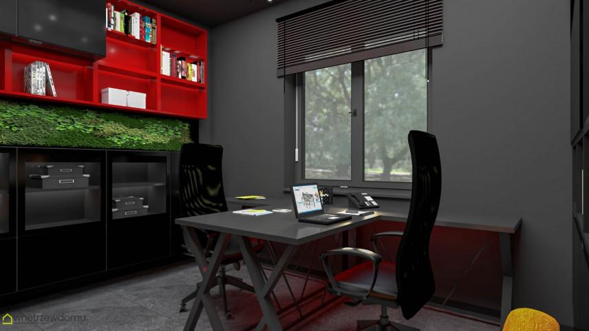 Biuro z meblami w zabudowie