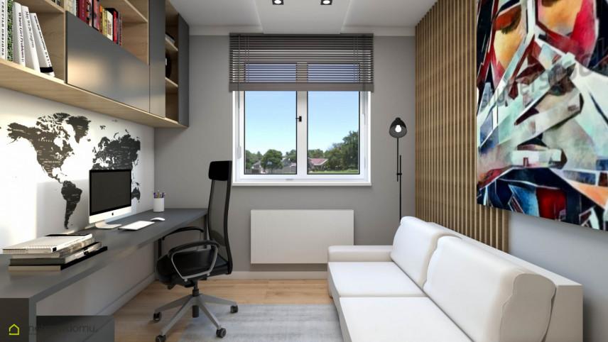 Nowoczesny pokój do pracy w domu z sofą