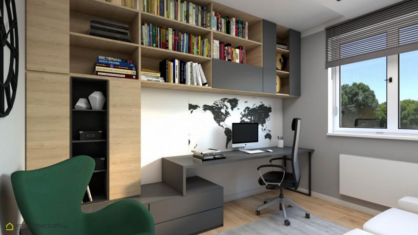 Projekt pokoju do pracy w domu z zielonym fotelem