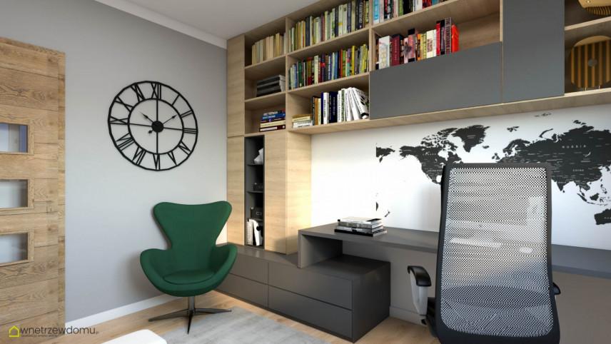 Nowoczesny pokój z biurkiem i krzesłem obrotowym