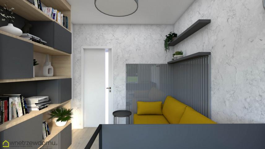 Nowoczesne biuro w domu z żółtą sofą