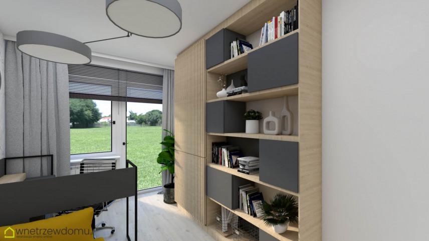 Nowoczesne biuro z zabudowanym biurkiem