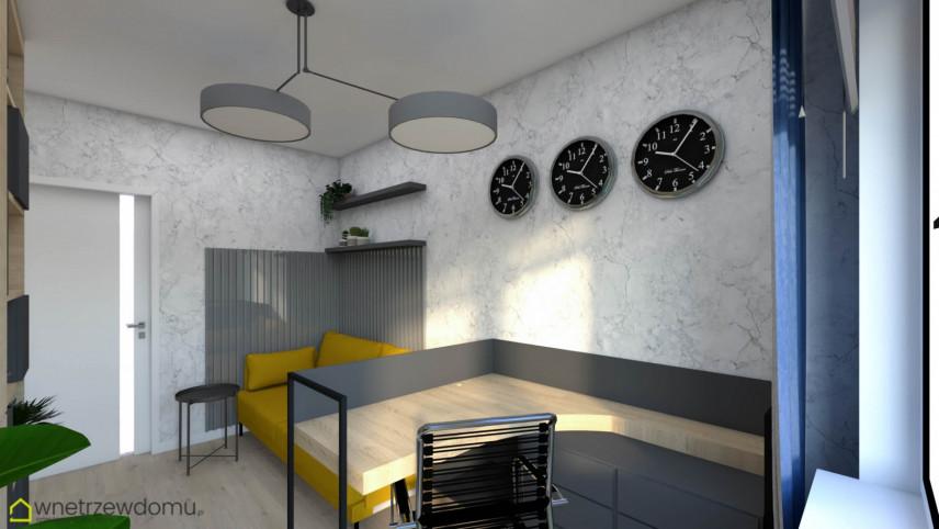 Nowoczesne biuro w domu z betonowymi ścianami