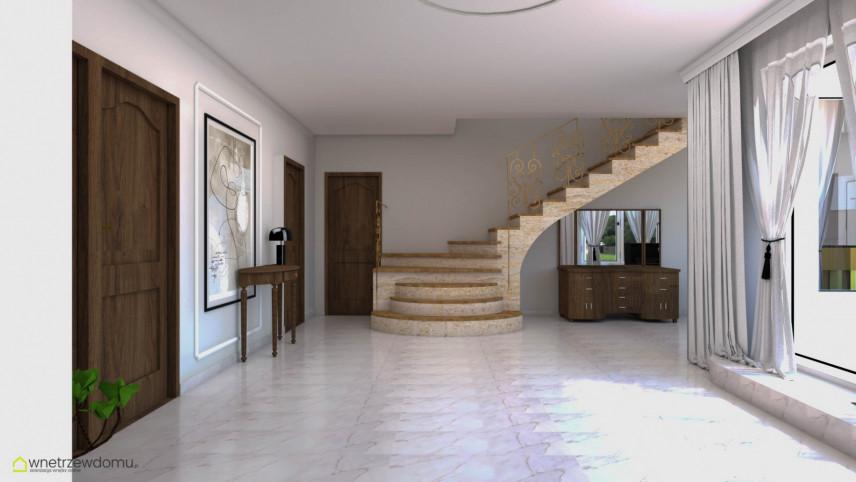 Przedpokój z korytarzem w domu jednorodzinnym