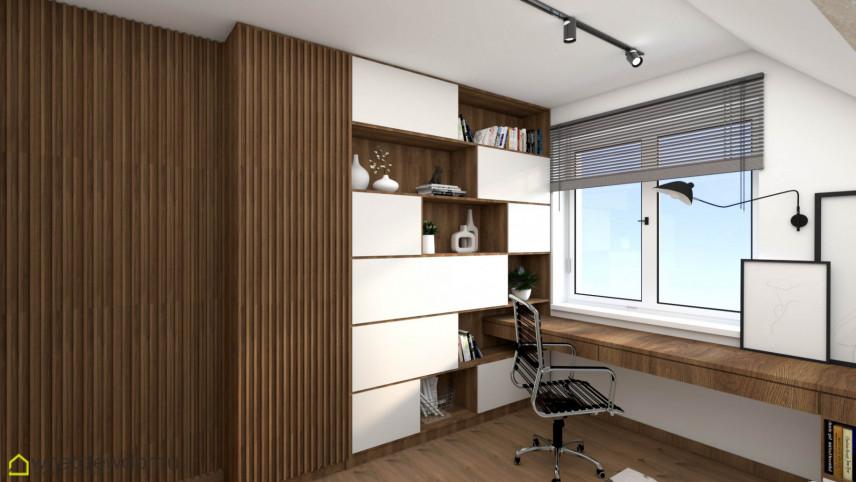 Projekt biura na poddaszu z drewnianymi meblami