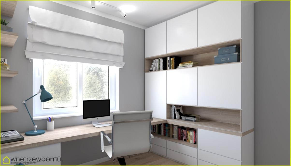 Biuro w domu z długim drewnianym blatem