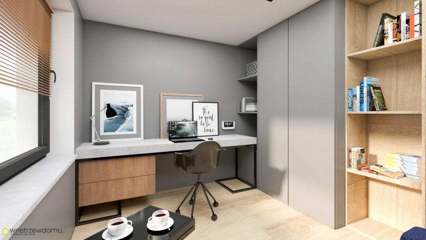 Aranżacja biura w domu z szaro-drewnianym biurkiem
