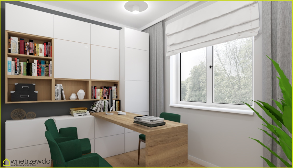 Pokój z białą szafą w zabudowie