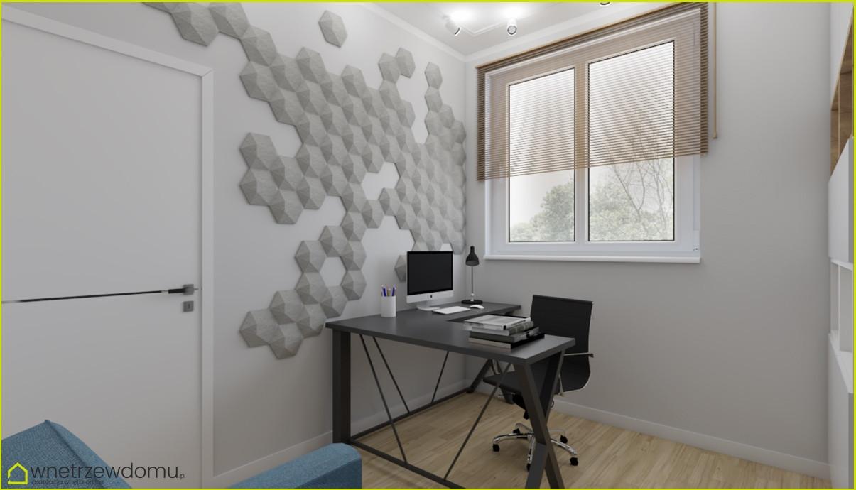Biuro w domu ze wzorem 3d na ścianie