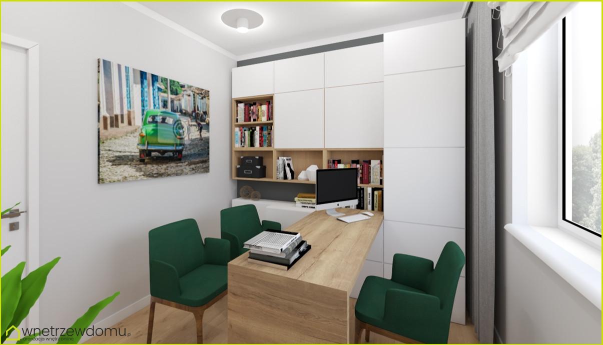 Pokój z przeznaczeniem do pracy z drewnianym biurkiem