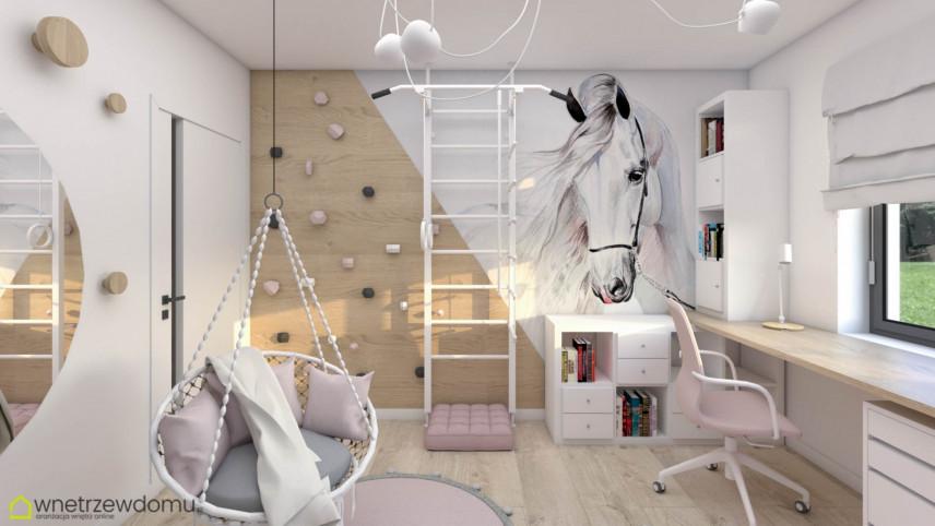 Pokój dziewczynki ze ścina wspinaczkową