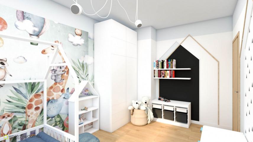 Pokój dziecięcy z szafą i łóżkiem typu domek