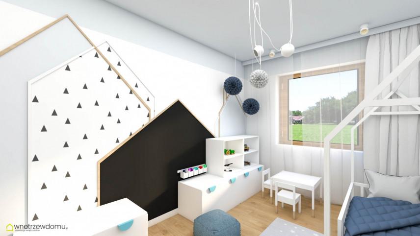 Pokój dziecięcy z domkiem na ścianie