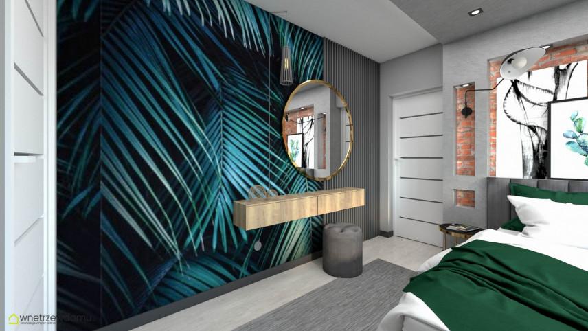 Pokój nastolatki z tapeta z motywem botanicznym na ścianie