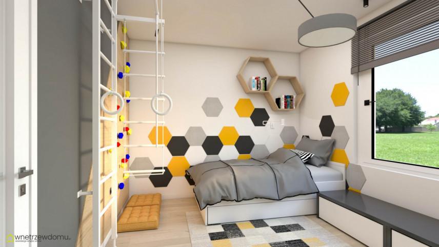 Pokój dla nastolatka ze wzorem heksagonalnym na ścianie