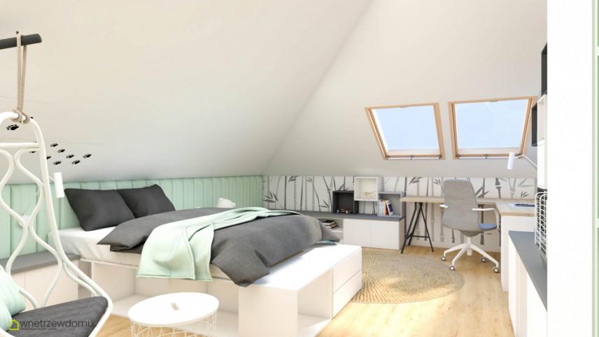 Sypialnia nastolatka na poddaszu z łóżkiem kontynentalnym