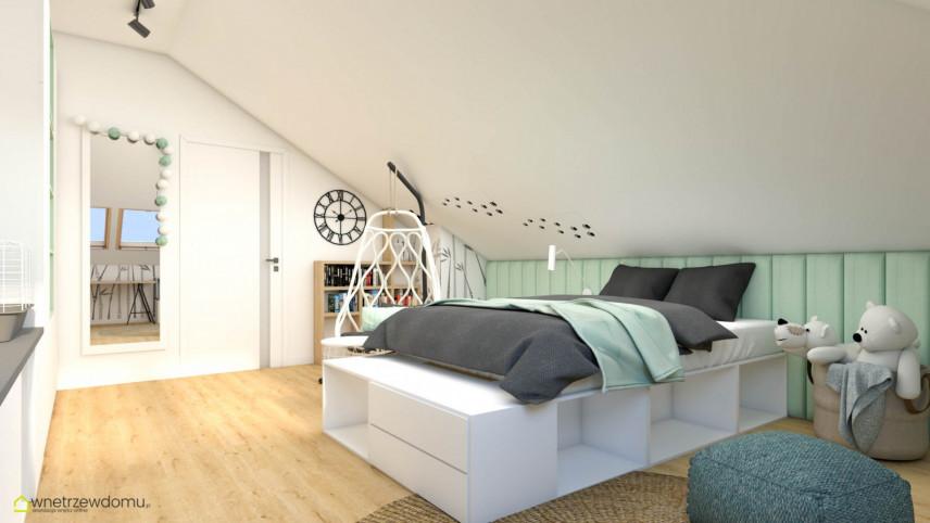Pokój nastolatki z łóżkiem kontynentalnym z funkcją przechowywania