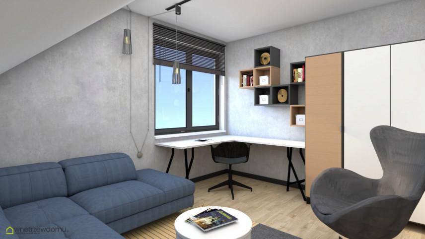 Pokój studenta z półką na szarej ścianie