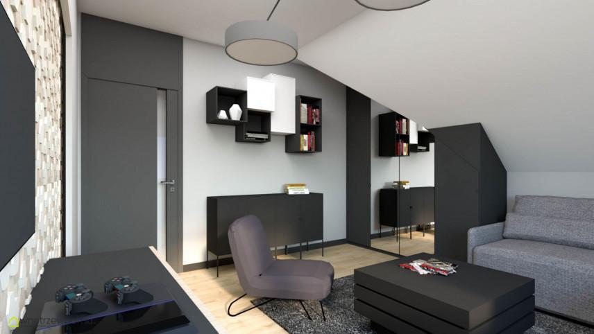 Pokój nastolatka z telewizorem na ścianie