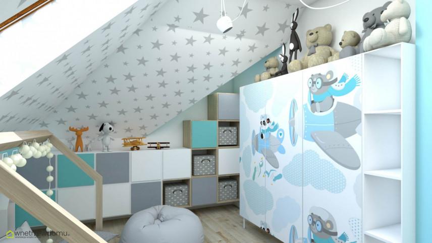 Pokój dla małego dziecka ze skosami i z meblami w zabudowie