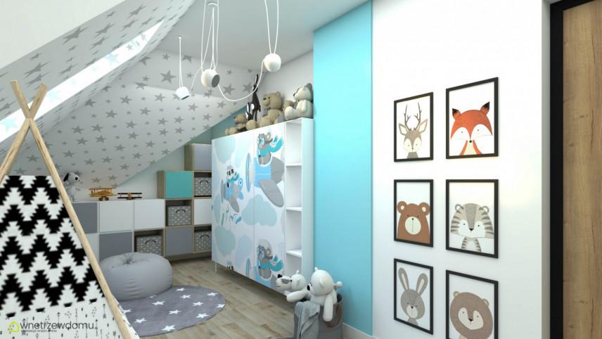 Pokój dziecięcy w jasnych kolorach z obrazami zwierzaków na ścianie