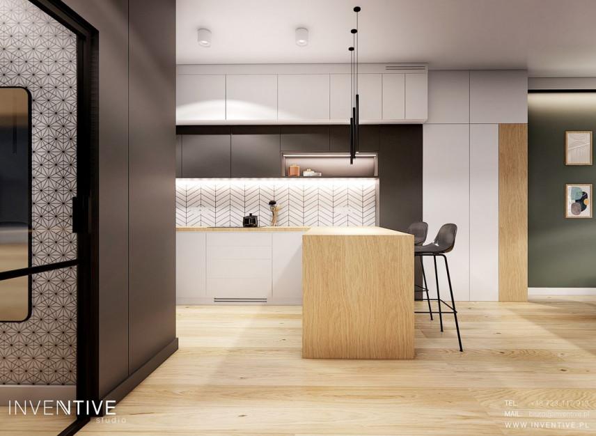 Widok z korytarza na kuchnie z barem